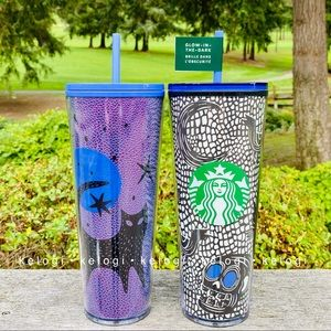 🎃NEW🦇Starbucks Purple Cat & Glow Skull Tumblers